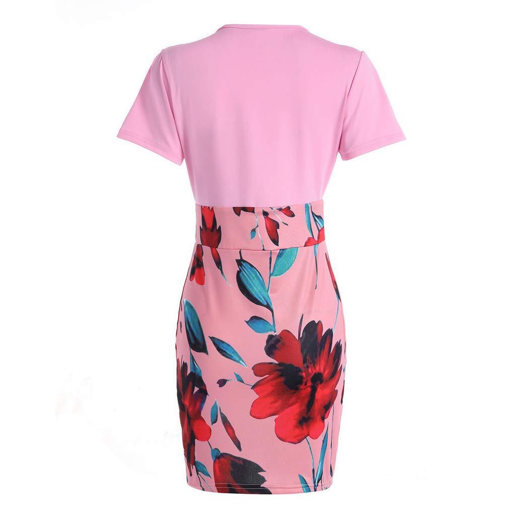 Vintage Womens Bodycon Pencil Dresses Short Sleeve Floral Printed Bandage Midi Dress Elegant Party Knee Length Dress Pink by Winsummer (Image #2)