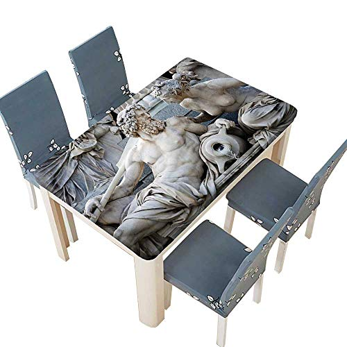 - PINAFORE Decorative Tablecloth Male and Female Statues Athena Fountain in Front of The Building Table Cover for Dining Room and Party W69 x L108 INCH (Elastic Edge)