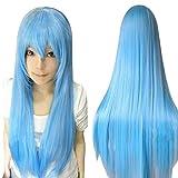ZyrunaeL Wigs 80cm Long Straight Anime Fashion Women's Cosplay Wig Party Wig (80cm, Blue)