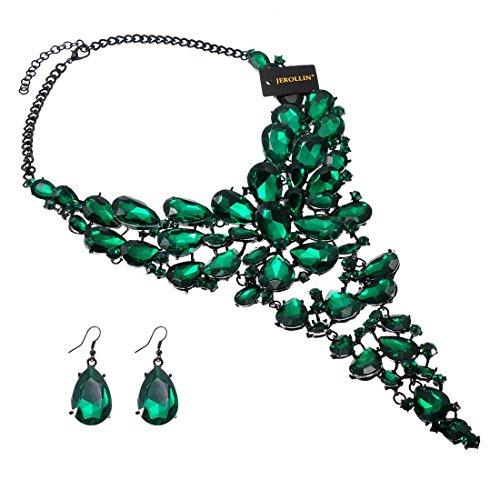 Fashion 7 Colors Jewelry Set Chain Acrylic Resin Crystal Choker Statement Pendant Bib Necklace (Green)