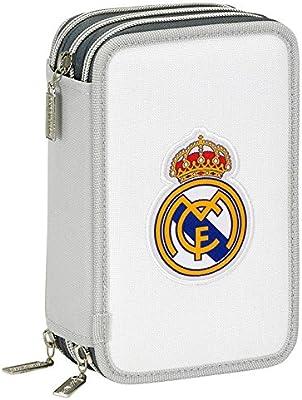 Real Madrid-Estuche escolar rellena con triple 41 piezas, diseño de escudo, color blanco con diseño del Real Madrid: Amazon.es: Oficina y papelería