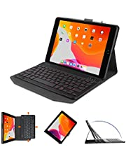 OMOTON Bluetooth Keyboard Case for iPad 10.2 Inch(8th Gen 2020/7th Gen 2019), iPad Air 3, iPad Pro 10.5, Rechargeable&7 Colors Backlit &Built-in Pencil Holder, UK Layout, Black