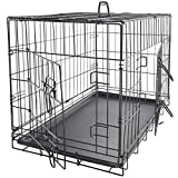 "Dog Crates for Extra Large Dogs - XL Dog Crate 42"" Pet Cage Double-Door Best for Big Pets - Wire Metal Kennel Cages with Divider Panel & Tray - in-Door Foldable & Portable for Animal Out-Door Travel"