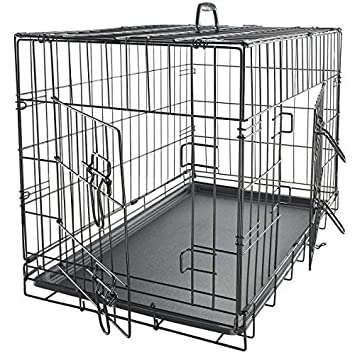 Dog Crate Double-Door Folding Metal – Wire Cage w Divider Tray for Training Pets – 2019 Newly Designed Model