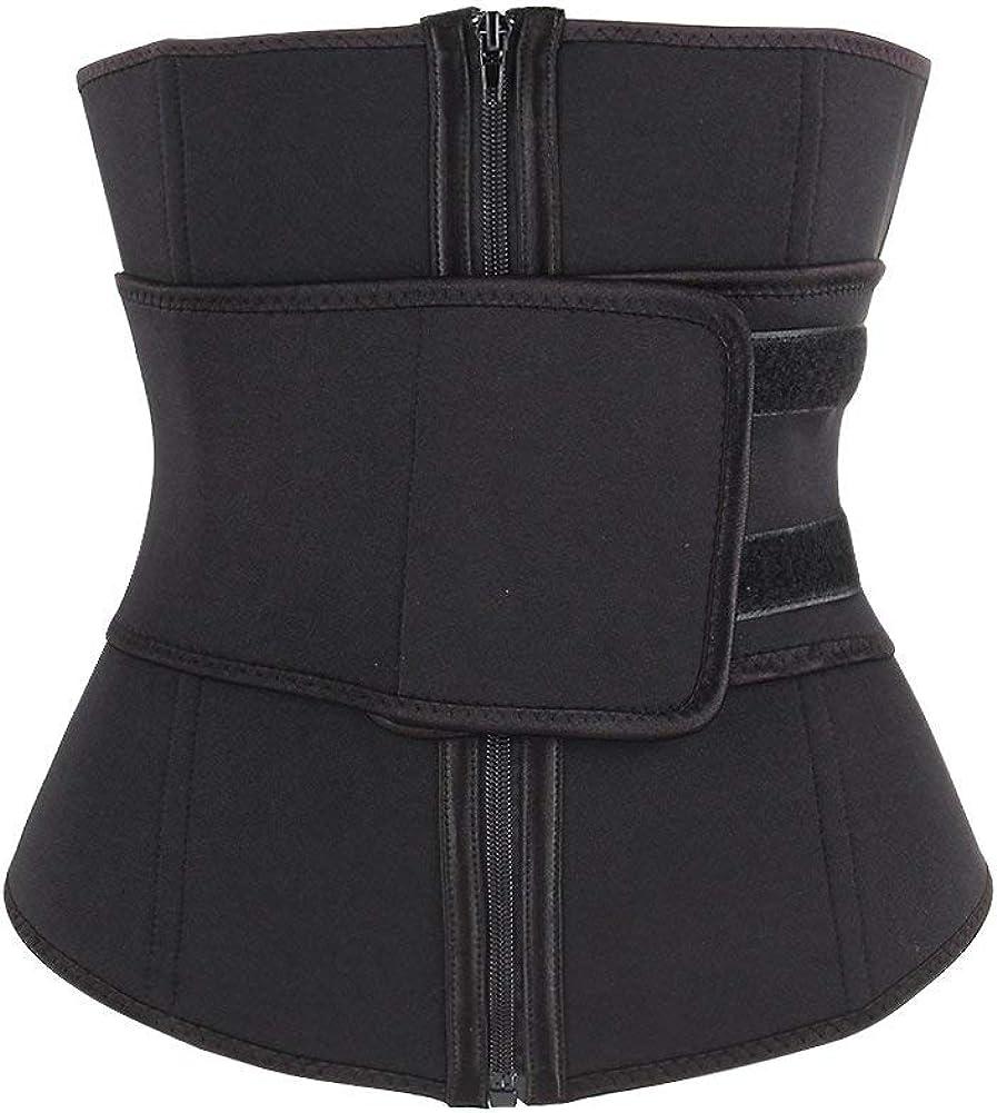 Sweetlover Waist Trainer Women Neoprene Corset Workout Trimmer Belt Hot Sweat Body Shaper Cincher with Zipper Waistband Black A, Medium