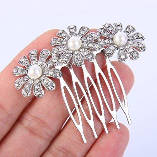 EVER FAITH® Plaqué Argent Cristal Perle Artificielle 3 Marguerite Fleurs Peigne Clair N07382-1