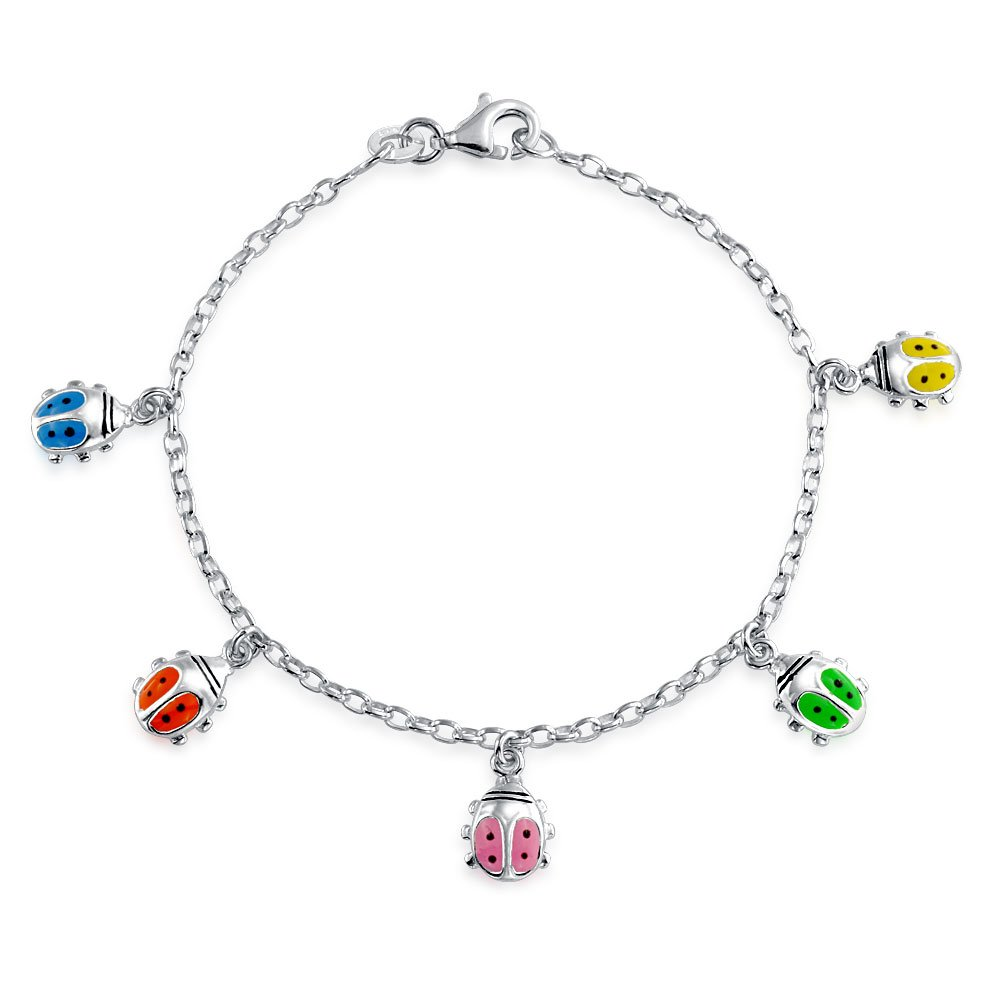 Bling Jewelry Silver Enamel Bracelet Lucky Ladybug Childrens 65in APPL-JB-130954