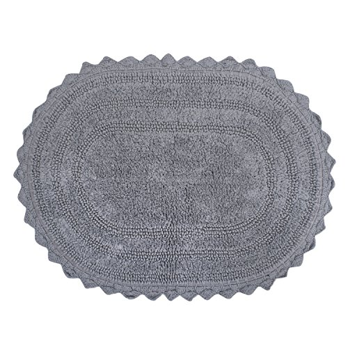 DII Ultra Soft Spa Cotton Crochet Oval Bath Mat or Rug Place in Front of Shower, Vanity, Bath Tub, Sink, and Toilet, 21 x 34' - Gray