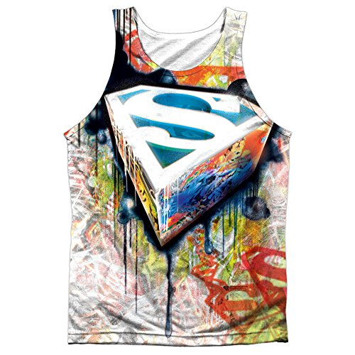 Superman+tank+tops Products : Superman Urban Shields Mens Sublimation Tank Top Shirt