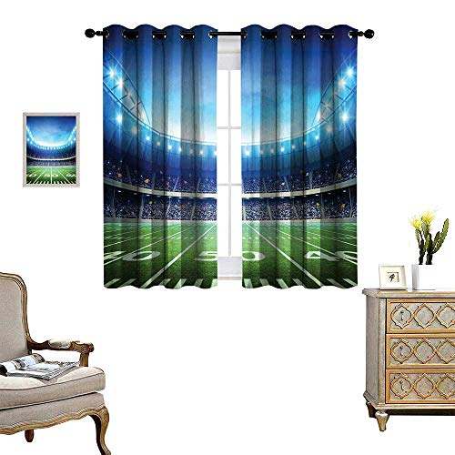 homehot Football Waterproof Window Curtain Photo of American Stadium Green Grass Arena Playground Bleachers Event Match Blackout Draperies for Bedroom Blue Green White