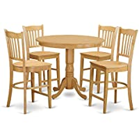 East West Furniture TRGR5-OAK-W 5 Piece Pub Table and 4 Counter Height Dining Chair Set