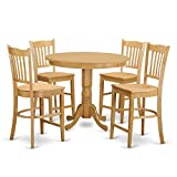 Antique Oak Folding Chairs East West Furniture TRGR5-OAK-W 5 Piece Pub Table and 4 Counter Height Dining Chair Set