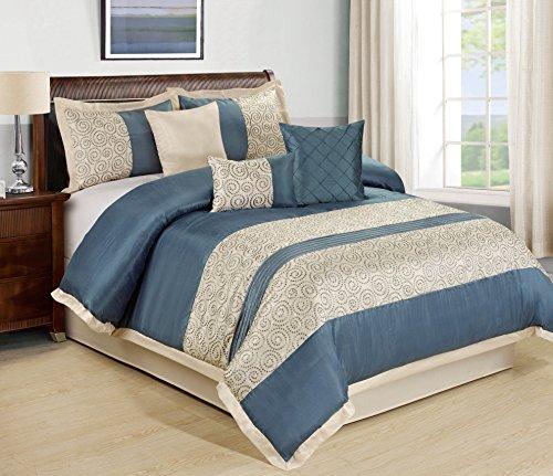 Beige Jacquard Comforter - 7 Piece Liverpool Jacquard Circle Patchwork Comforter Set (King, Blue)