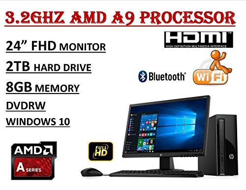 HP Slimline 270 FHD Desktop bundle - AMD A9-9430 3.2GHz Processor - 8GB DDR4 RAM - 2TB 7200RPM HDD - DVDRW - WiFi+BT - HP 24uh FHD Monitor - Windows 10 ()
