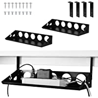 2 Packs Under Desk Cable Management Tray Organizer, 40cm Heavy Sheet Metal Cable Holder Under Table Wire System…
