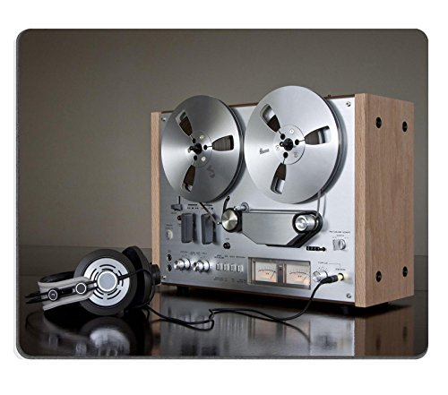 MSD Natural Rubber Mousepad IMAGE ID: 8888683 Vintage Reel to Reel stereo tape deck recorder