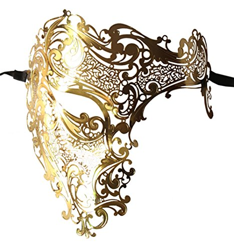 Luxury Mask Men's Signature Phantom of The Opera Half Face Metal Mask ()