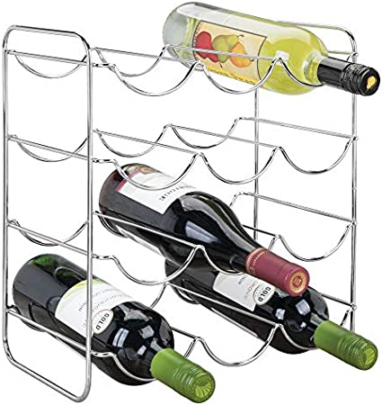 mDesign Vinoteca o botellero metálico para hasta 12 Botellas – Soporte para Botellas de Vino – Estantes para Bebidas para frigoríficos o armarios – Plateado