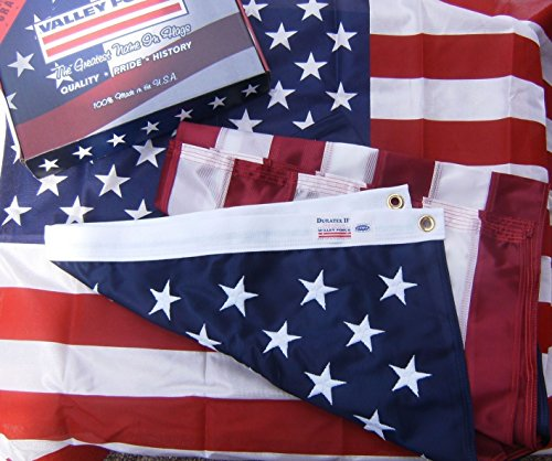 3x5 Foot U.S. American Flag Valley Forge Flag Duratex II Poly High Wind Fully Sewn