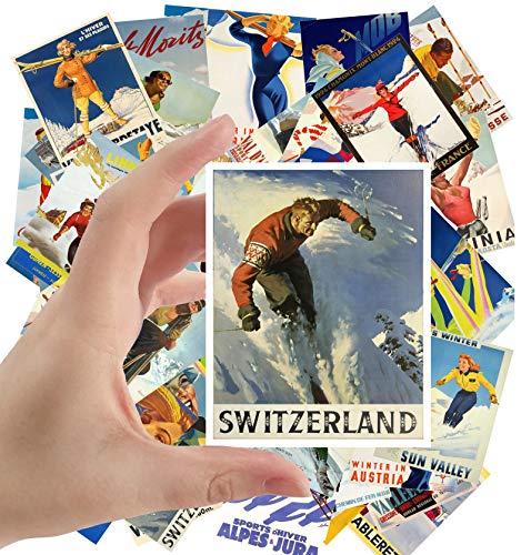 "Large Stickers (24 pcs 2.5""x3.5"") Ski Winter Sport Vintage Travel Poster Magazine"