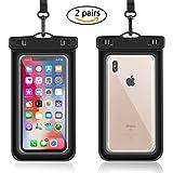 Waterproof Phone Pouch, Universal Waterproof Cell Phone Case iPhone X/8/8plus/7/7plus/6s/6/6s plus Samsung galaxy s8/s7 Google Pixel HTC10 (Black, 2-Pack)