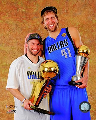 Dirk Nowitzki & Jose Juan Berea with the 2011 NBA Championship & MVP Trophies Game 6 of the 2011 NBA Finals Photo Print (8 x 10) (Finals 2011 Nba)