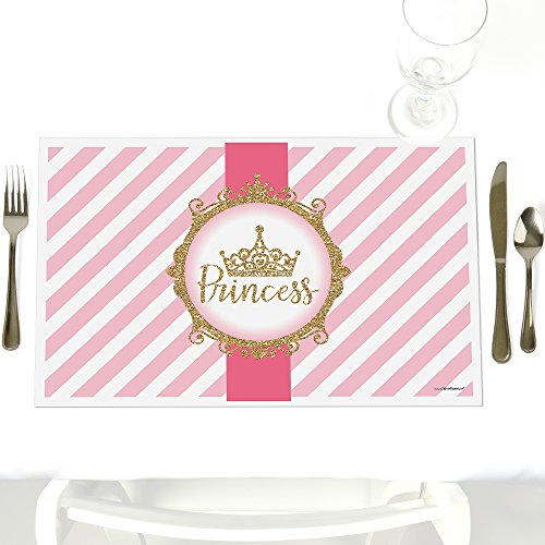 Little Princess Crown - Party Table Decorations - Pink and Gold Princess Baby Shower or Birthday Party Placemats - Set of 12