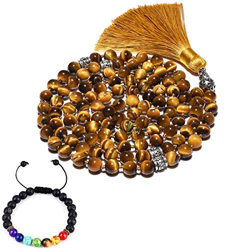 CAT EYE JEWELS 8mm Mala Beads Necklace Yoga Meditation 108 Tiger Eye Prayer Beads Tassel Necklace