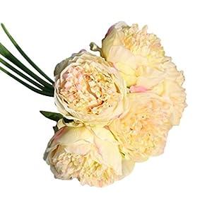 ChainSee 5 Head Artificial Silk Peony Flowers Bridal Bouquet Home Wedding Decor (B) 15