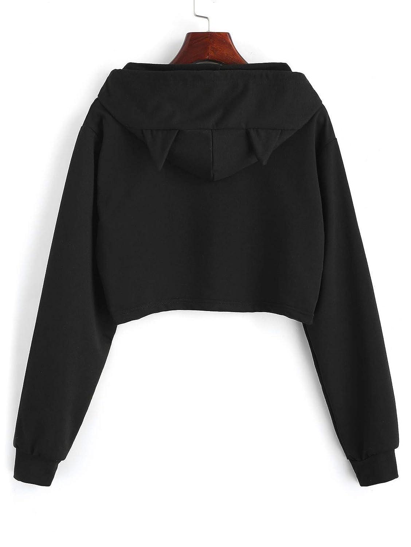 Ssunjia Comercio Exterior de Europa y los Estados Unidos Ebay AliExpress Cartas de Las Mujeres Orejas de Gato con Capucha de Manga Larga suéter Corto Camisa ...
