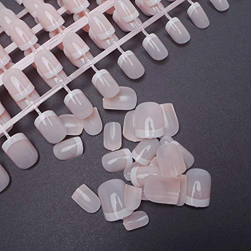 240Pcs French Nails Full Cover Short Press on Natural False Acrylic Nails Art Tips Sets for Daily Use -