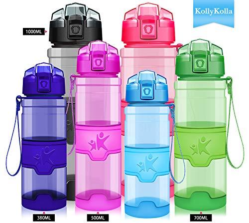 KollyKolla Water Bottle BPA Free Tritan, Opens with 1-Click Flip Top Leak-Proof Lid, Kids Drinks Bottle, Reusable Water Bottles with Filter, for Sports, Outdoors, Gym, Yoga, (380ml Glossy Blue)
