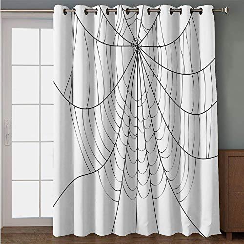 iPrint Blackout Patio Door Curtain,Spider Web,Close Up Cobweb Design Monochrome Design Elements Catching Network Fear Decorative,Grey Black White,for Sliding & Patio Doors, 102