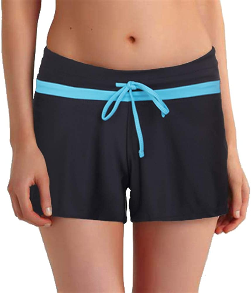 Hioffer Women Solid Color Swimsuit Pants Beach Sports Short Boardshort Bottom with Adjustable Waistband