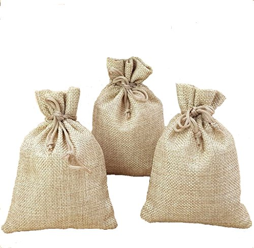 Guzon 15 Pack Burlap Bags with Drawstring,Storage Linen Jewelry Pouches Sacks for Halloween Wedding, Party, Jewelery Favor Bags,6.9 by 4.9 Inch -
