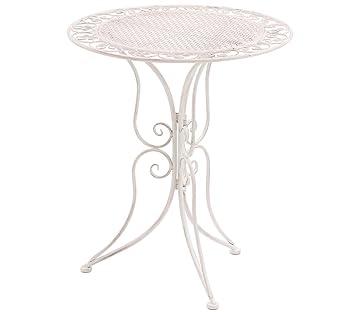 Dehner Gartentisch Provence Stylo O 60 Cm Hohe 70 Cm Metall Weiss