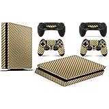 GNG PS4 SLIM Console Carbon Gold Colour Skin Decal Vinal Sticker + 2 Controller Skins Set