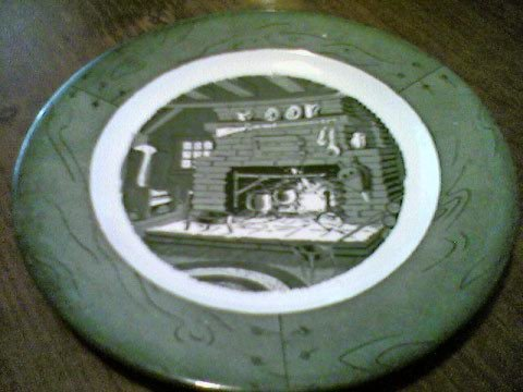 (Colonial Homestead-Green Dinner Plate By Royal (USA))