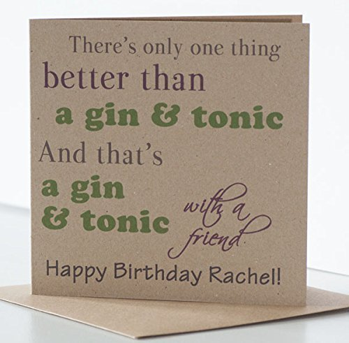GT Birthday Card Gin Tonic Personalised Friend For