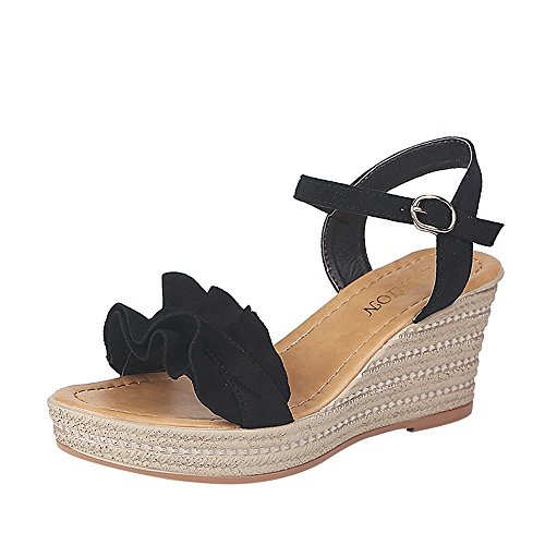 TnaIolral Women Sandals Wedge Heels Ruffle Peep Toe Buckle Strap Pumps Shoes Black