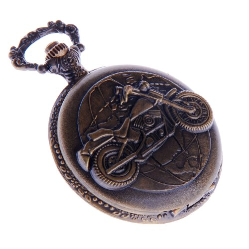 Biker Motorcycle Pocket Watch With Chain Quartz White Dial Arabic Numerals Full Hunter PW-42