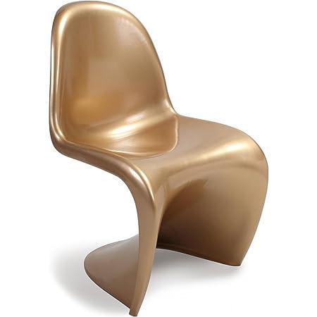 panton chair verner panton style plastic gloss gold metal amazon