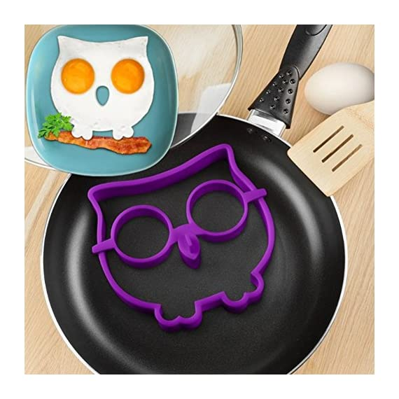 Owl Egg Shaper Silicone Mold Breakfast Eggs Mold Breakfast Silicone Owl Fried Egg Mold Pancake Egg Rings 2 Material:100% food grade silicone Color: Random color if no special state Withstands temperatures of -20 ° F to 450 ° F (-30 ° C to 230 - ° C).