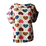 iLOOSKR Women's Short Sleeve T-Shirt, Women's Loose Chiffon Shirt Top Tropical Dot Print Pullover Blouse(Beige,L)