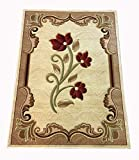 Cheap New Contemporary Flower Design Cream Beige Red Floral Modern Area Rug Carpet 4 by 6