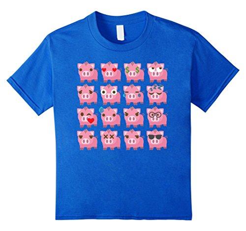 Kids Pig Emoji Different Face Emotion Shirt T-Shirt Piglet Tee 10 Royal Blue (Cute Candy Corn Costumes)