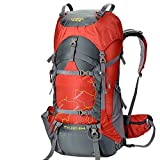 Creeper Outdoor Sports Camping Hiking Waterproof Backpack Daypacks Mountaineering Bag 50L 60L 70L Travel Trekking Rucksack with Rain Cover (Red, 70L)
