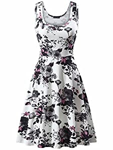 FENSACE Women's A Line Sleeveless Floral Summer Dress