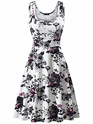 FENSACE Women's Sleeveless Midi Dress Casual Flared Tank Dress