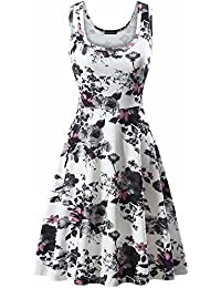 Women's A Line Sleeveless Floral Summer Dress